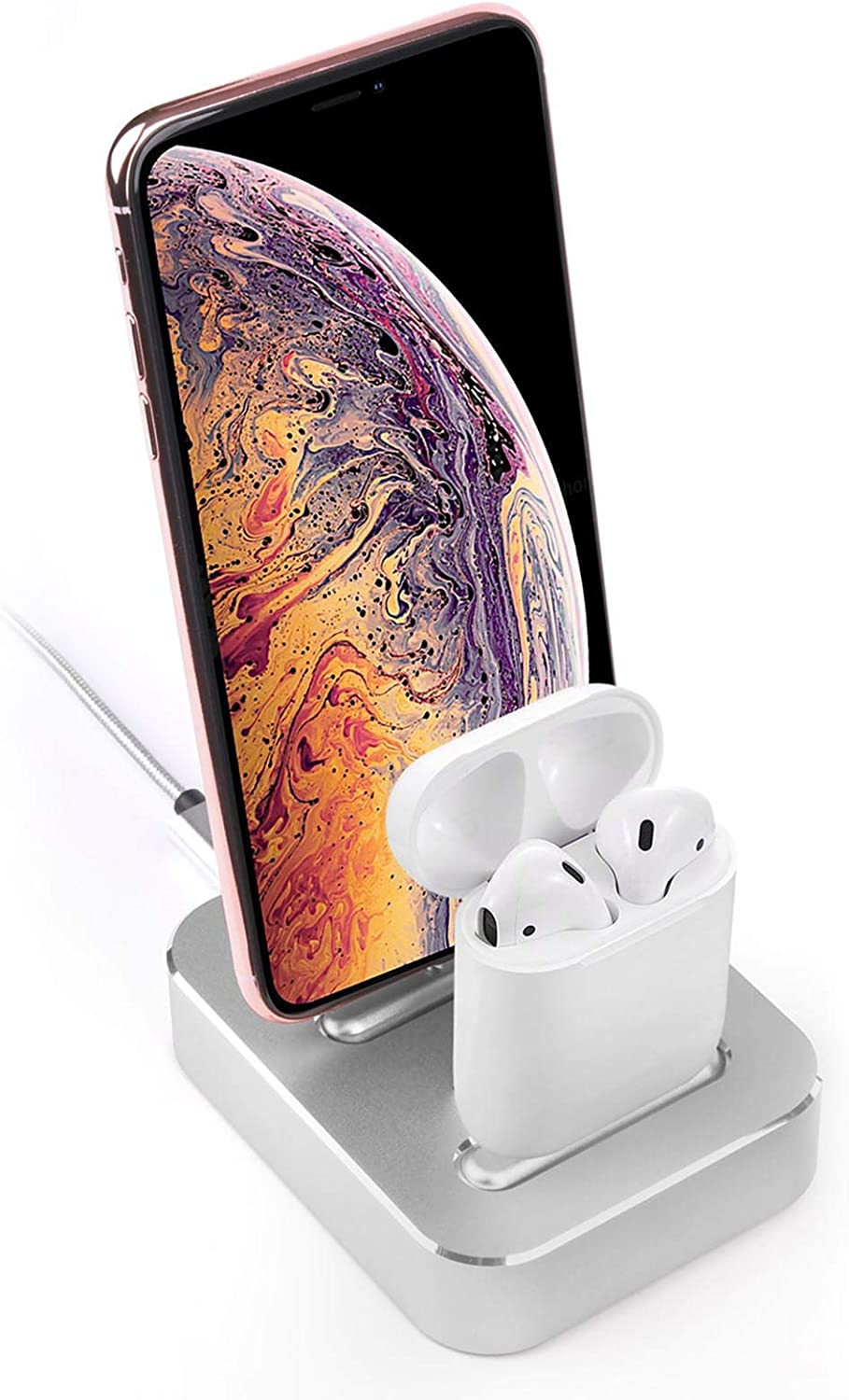 2-in-1 Charging Stand Aluminum Alloy Built-in USB Cell Phone Charging Stations, Dual Charger Station, Mobile Phone Holder Suitable for iPhone 11/XS/8/8Plus/7/iPad/Airpods1/2/Airpods pro (Gray)