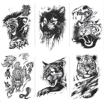 Tatuajes Temporales Dorados Tigre Dominante Negro, Lobo, Lince ...