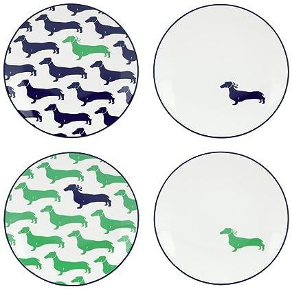 kate spade new york Wickford Dachshund Tidbit Plates Set of 4  sc 1 st  Amazon.com & Amazon.com | kate spade new york Wickford Dachshund Tidbit Plates ...