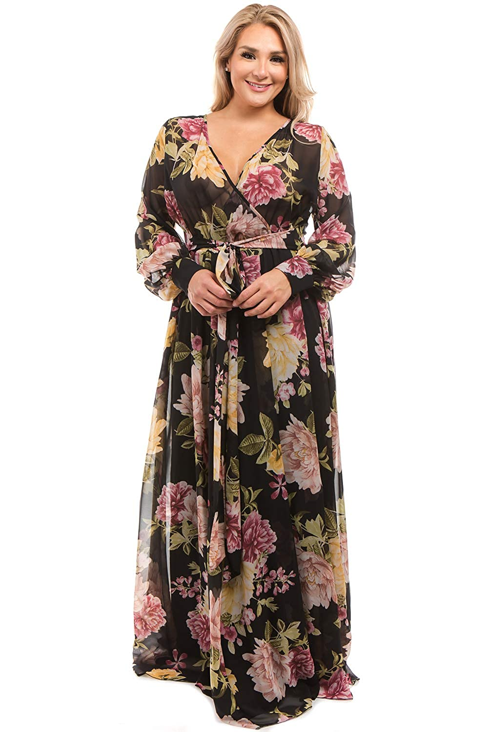 7991d685fb182 RICARICA Plus Size Floral Printed Chiffon Maxi Dress at Amazon Women s  Clothing store