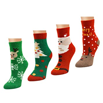 LJ deporte de calcetines de Navidad para mujer, niñas Festive diseño de mezcla de algodón
