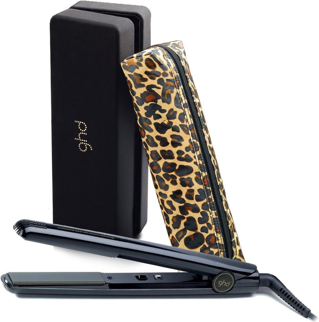 ghd – Rare IV Edición limitada negro brillante pelo cabello con funda de transporte y bolsa de estampado de leopardo Styler: Amazon.es: Salud y cuidado personal