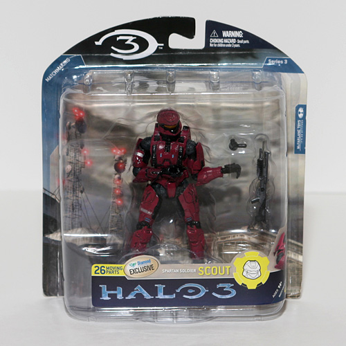 - Halo 3 McFarlane Toys Series 5 (2009 Wave 2) Exclusive Action Figure Crimson Spartan Soldier Scout