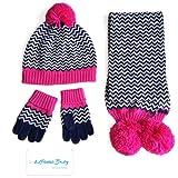 LifenewBaby 3Pcs Cotton Hat Scarf Gloves Set Winter Cap for kids Boys/Girls-Stripe