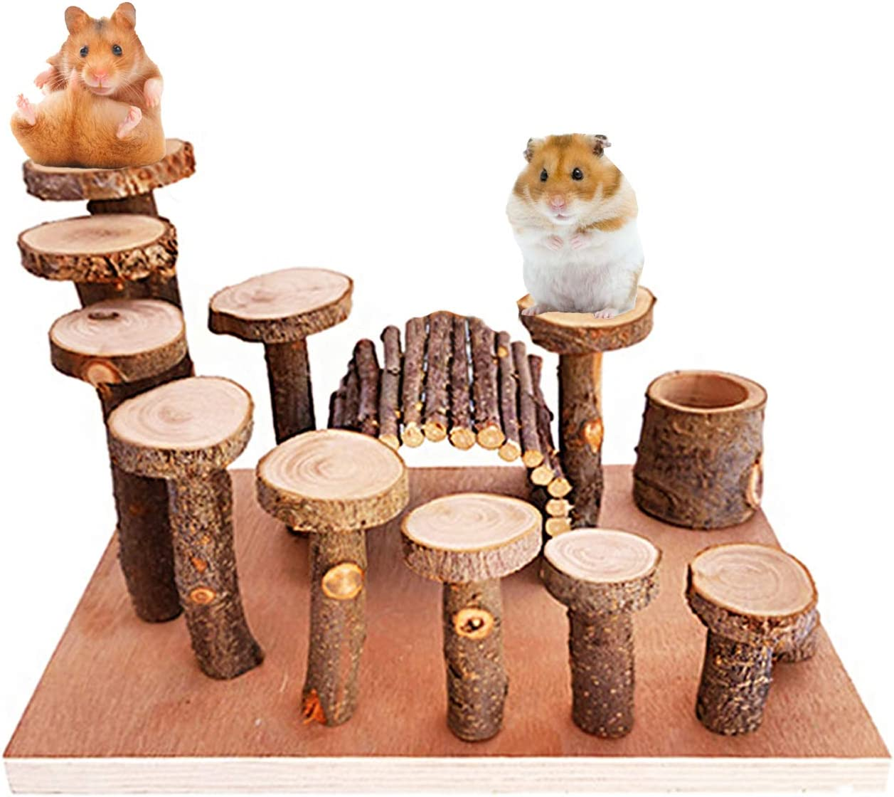 Linifar Hamster Playground Wooden, Small Animal Activity Toys Set – Rat Playground Platform Climbing Ladder/Ramp Bridge/Food Bowl Chew Toy for Syrian Hamster Gerbil Mouse Chinchilla