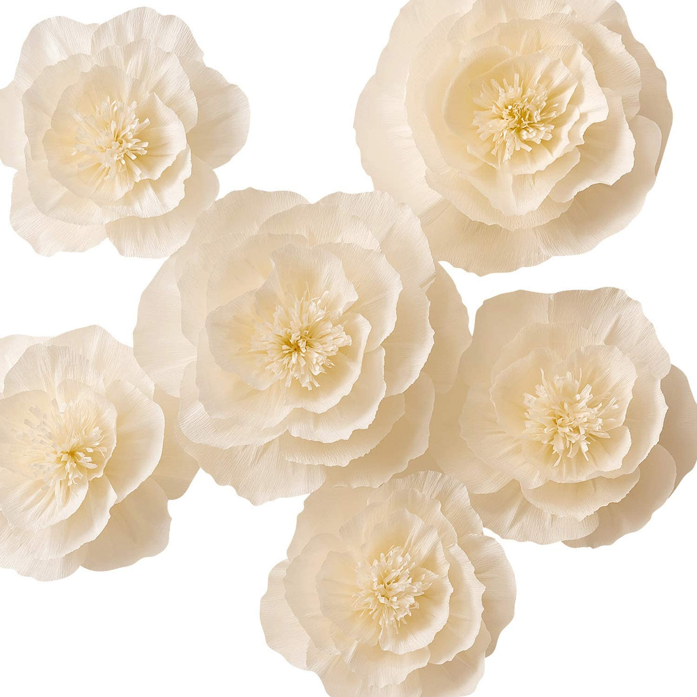 KEY SPRING Paper Flower Decorations, Large Crepe Paper Flowers, Handcrafted Flowers, Giant Paper Flowers (Beige, Set of 6) for Wedding Backdrop, Nursery Wall Decorations, Bridal Shower, Baby Shower