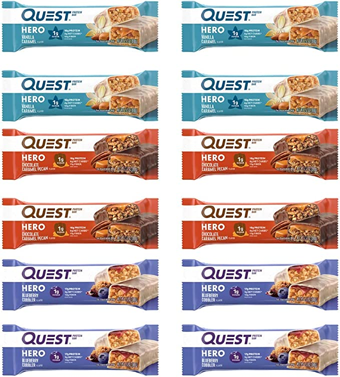 Amazon.com: Quest Nutrition Hero Protein Bar Variety Pack. Low Carb Meal Replacement Bar with 20 gram Protein. High Fiber, No Gluten(12 Count): Health & Personal Care