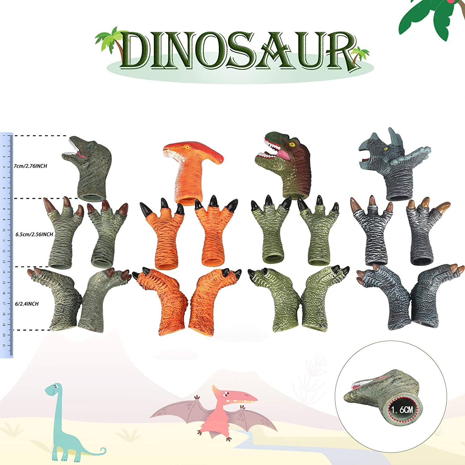 Bath Toys for Kids and Feet Rubber Dinosaur Finger Puppets Set with Heads Paws Finger Puppets 20pcs Dinosaur Toys