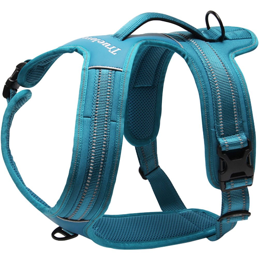 bluee S Chest 19-22.5\ bluee S Chest 19-22.5\ Creation Core Reflective No-Pull Dog Harness with Padded Handle Breathable Durable Pet Vest Front and Rear Leash Hookup, bluee S