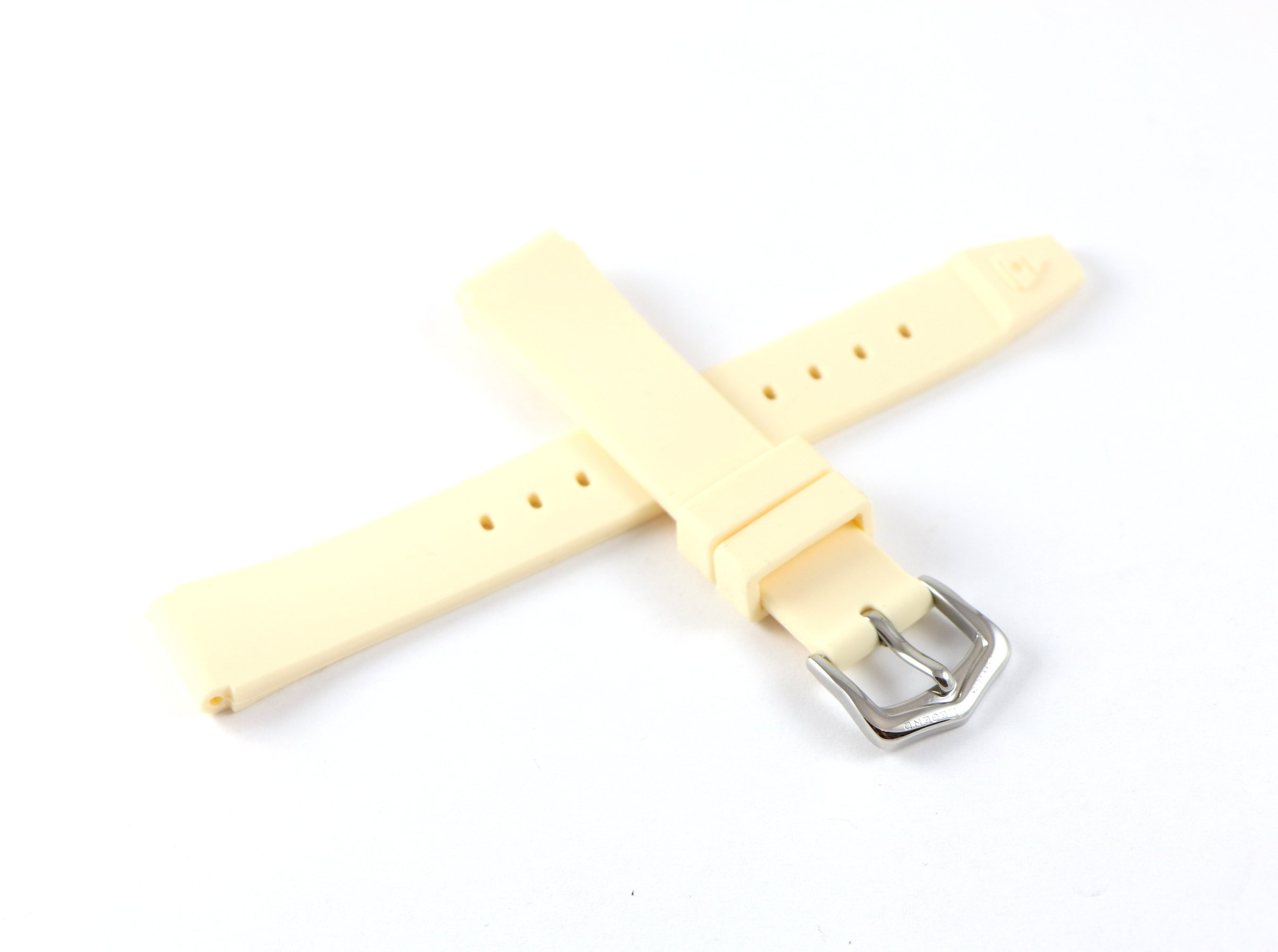 Swiss Legend 16MM Beige Rubber Watch Strap & Silver Stainless Buckle fits 35mm Love Connection Watch