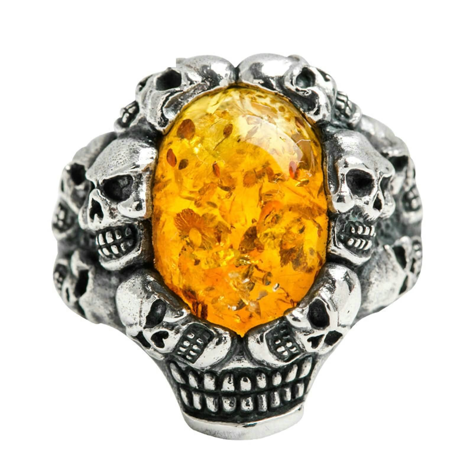 Bishilin Rings for Men Silver Plated Skull Oval Amber Friendship Rings Silver Size 12.5