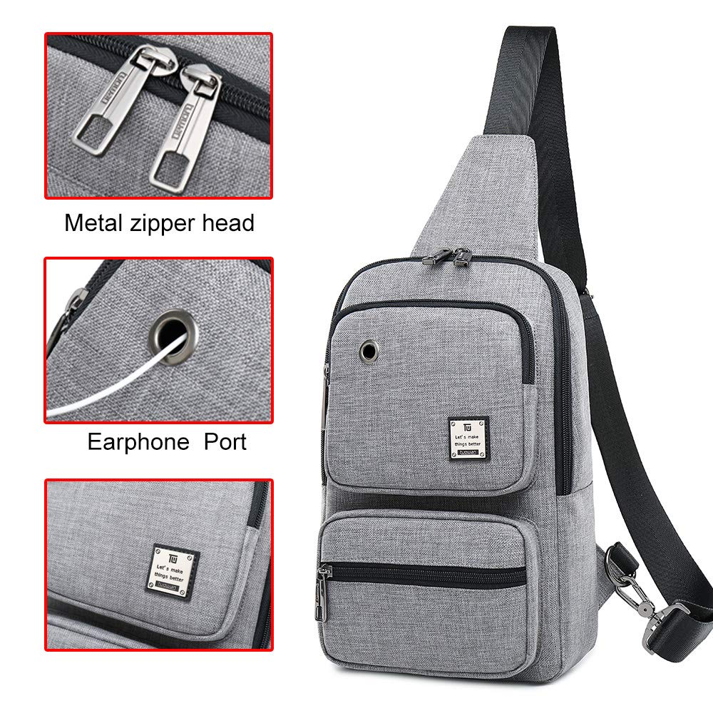 Sling Bag, Sling Backpack Outdoor Crossbody Chest Pack Bag Multipurpose Daypack (1808#Grey)