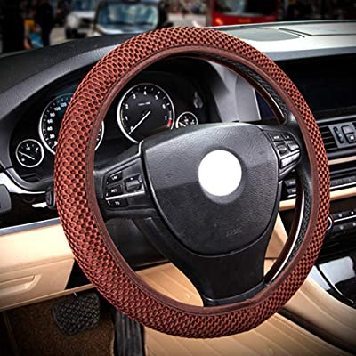 """ZaCoo Breathable Mesh Anti-Slip Car Steering Wheel Cover (No Fixed Inner) fits for Truck,SUV,Cars 14""""-15"""" (Brown): Automotive"""