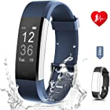 Fitness Tracker Unisex RONTEN Heart Rate Monitor Activity Tracker+APP 14 Training Modes 0.96'' OLED 8 days Standby Waterproof Smart Wristband, Bluetooth Wireless Activity Bracelet with Replacement Strap for Android and IOS iPhone 5/6/7/8 Plus X in purple/blue