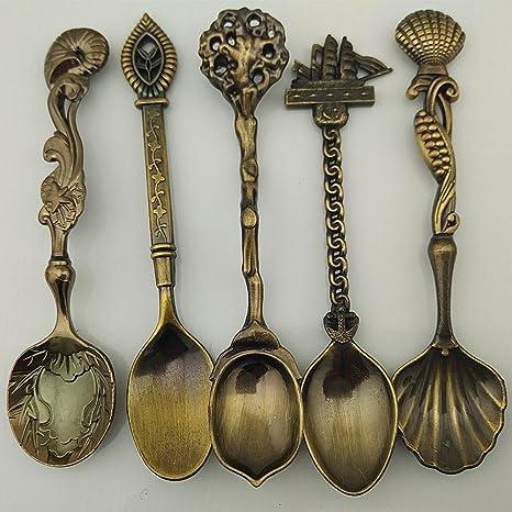 5pcs/set cocina comedor Bar cuchara Vintage Royal bronce tallado café cuchara cubiertos cubiertos postre