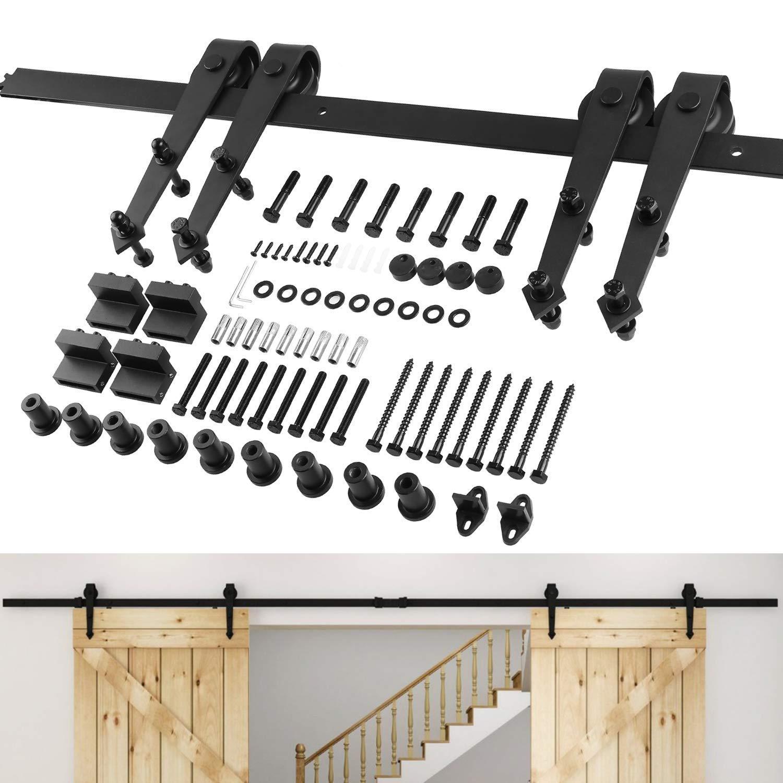 FIXKIT 12.0Ft 366cm Herraje para Dos Puertas Suspendidas de Madera Corredera Kit de Accesorios para Puertas Correderas Juego de Piezas de Metal para Carril ...