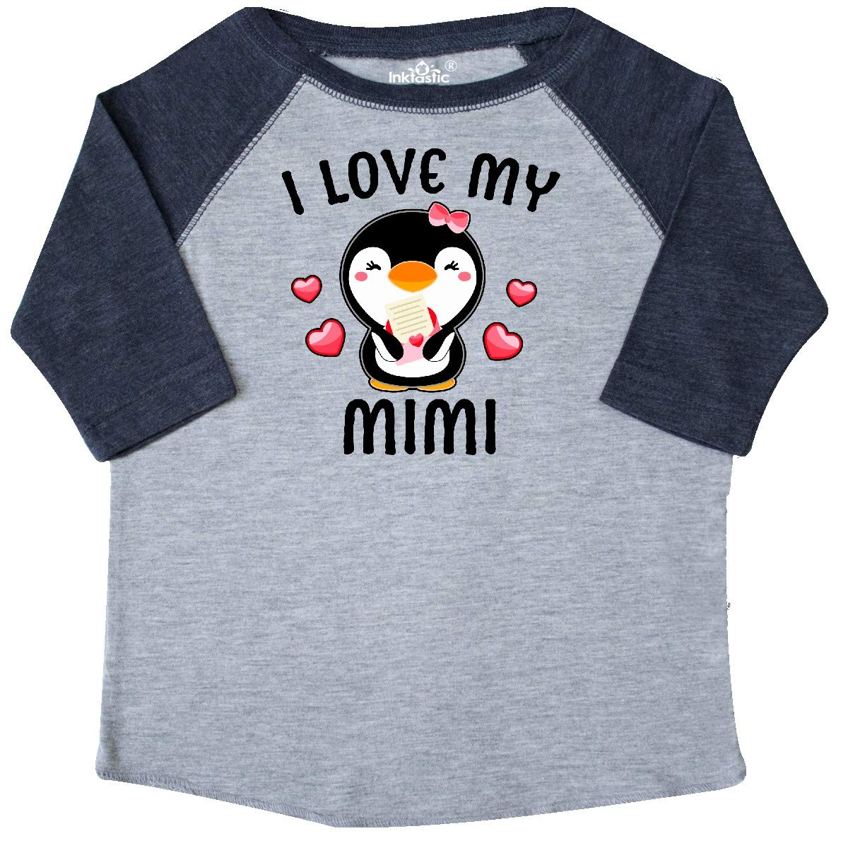inktastic I Love My Mimi with Cute Penguin and Hearts Toddler T-Shirt