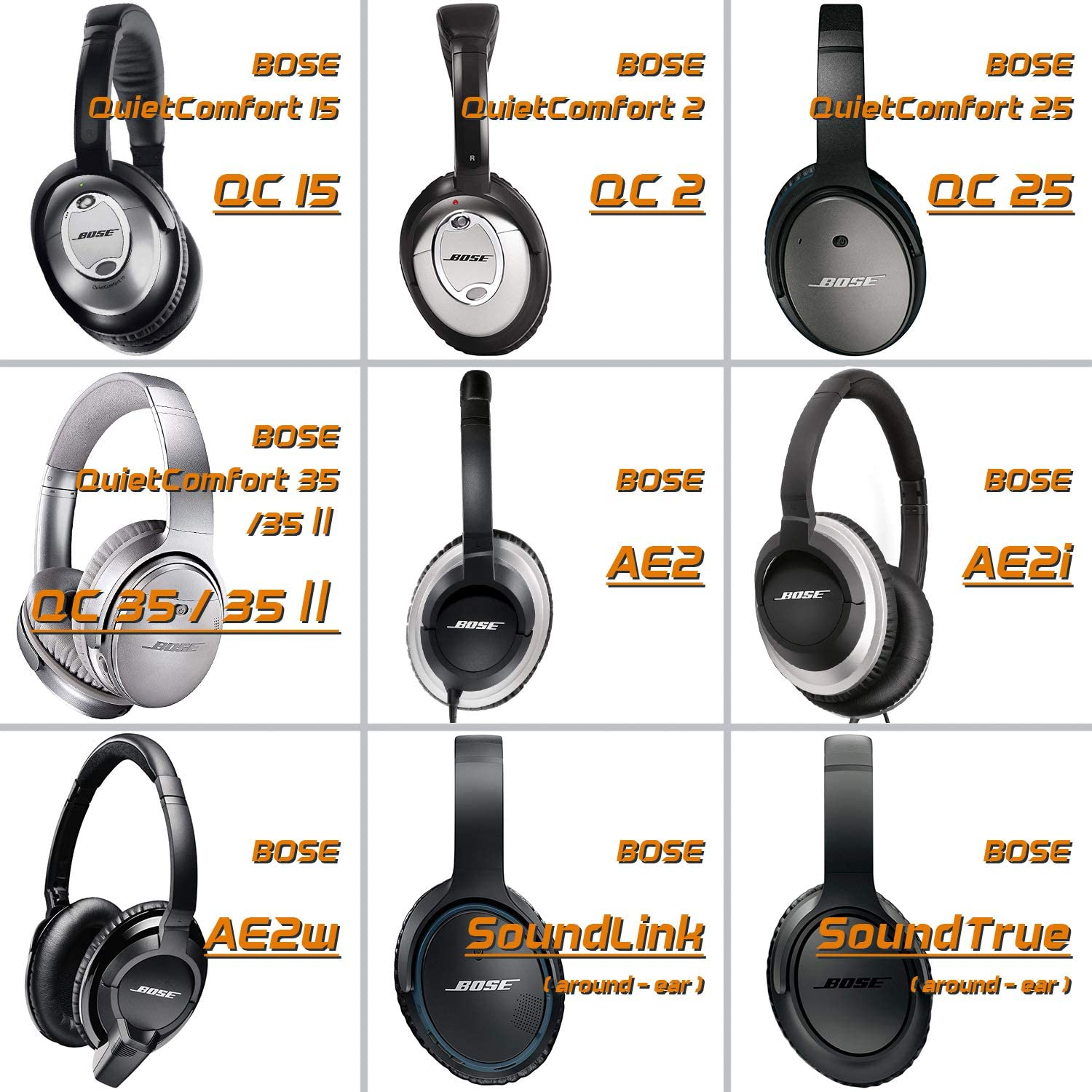 QC15 QC2 SoundTrue//SoundLink AE2 Compatible with QuietComfort 15 QC35 AE2w QC25 AE2i QC35Ⅱ Ear Pads Replacement Cushion for Bose Headphones