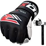 RDX MMA Gloves Grappling Martial Arts Leather Genuine Cowhide Punching Bag Mitts Sparring Cage Fighting UFC Combat Training