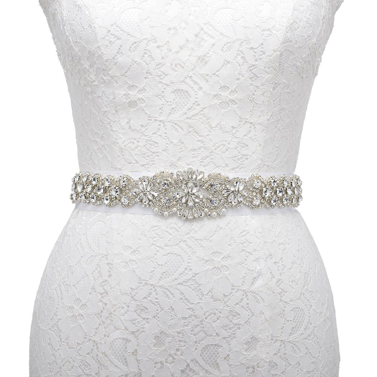 AW Crystal Wedding Dress Belt Rhinestone Bridal Sash Belt Black AWUKYD160U011B