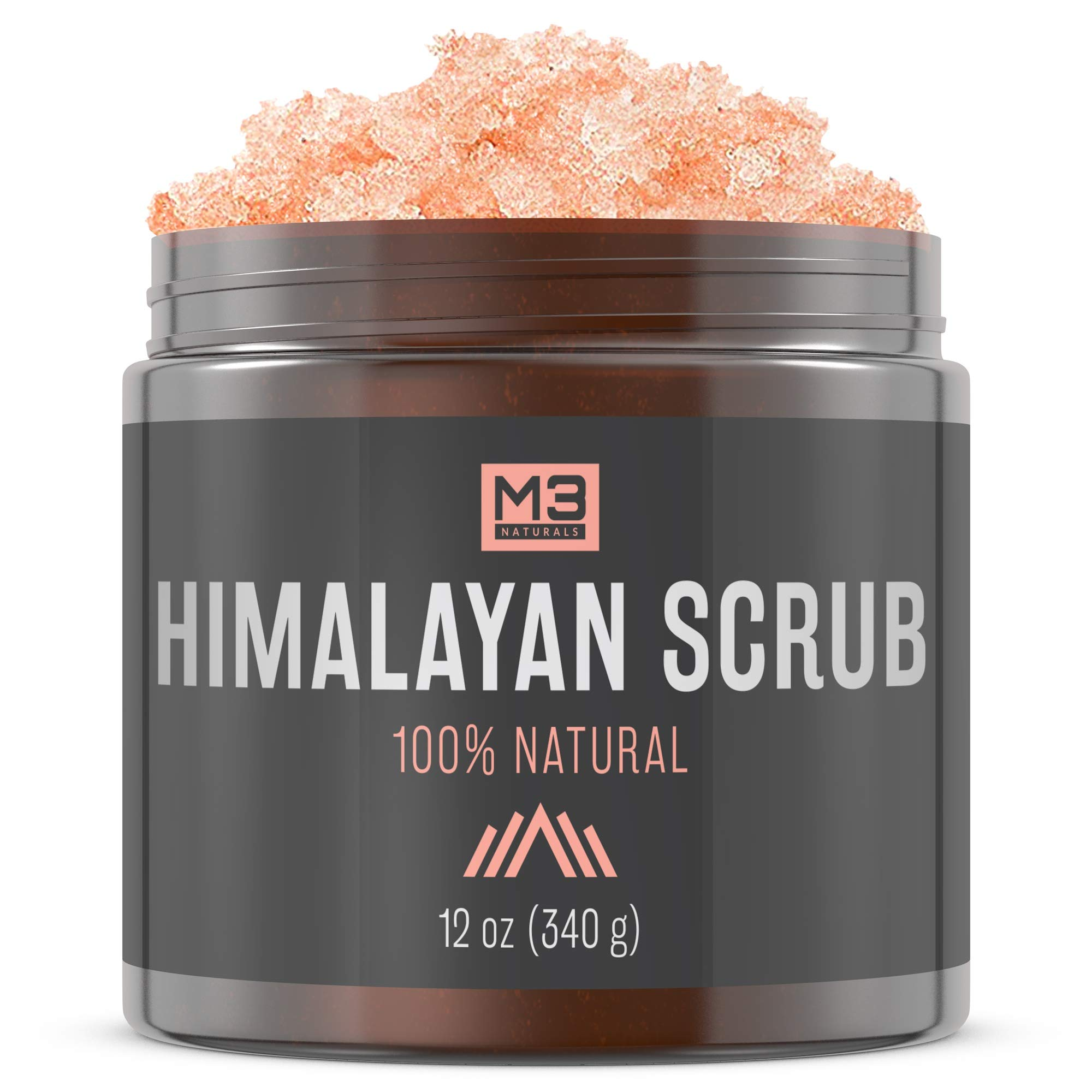 M3 Naturals Himalayan Salt Body & Face Scrub with Lychee Sweet Almond Oil All Natural Skin Care Exfoliating Blackheads Acne Scars Reduces Wrinkles Anti Cellulite Treatment 12 OZ