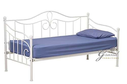 lisbon white metal day bed with trundle victorian style 3ft single guest bed frame without. Black Bedroom Furniture Sets. Home Design Ideas