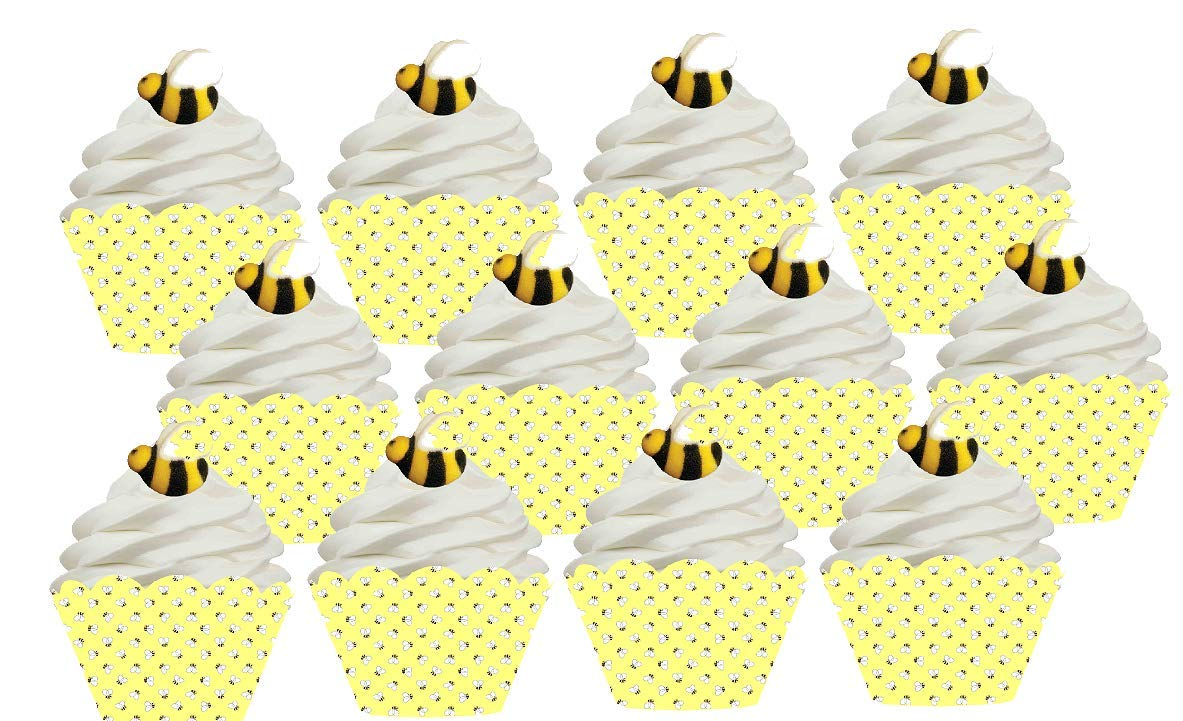 12 BumbleBee Bee Sugar Decoration Toppers & 12 Bee Baking Cupcake Decoration Wrappers