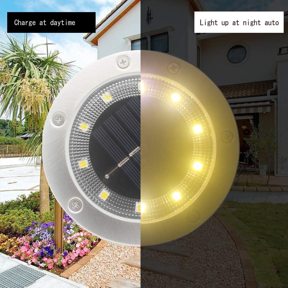 Jorft 8 Pack 10 LED Lampade da terra impermeabili ad energia solare da terra Illuminazione paesaggistica per prato Sentiero Terrazza Uso patio Bianco caldo Luci solari Giardino esterno