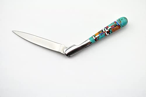 Custom Made Turquoise Coral Inlay 5 inch Toothpick Folding Pocket Knife