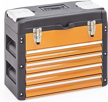 Caja de herramientas con 4 cajones y una tapa - Color negro y naranja: Amazon.es: Bricolaje y herramientas