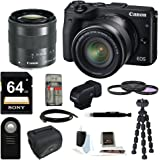 Canon EOS M3 Mirrorless Camera EF-M 18-55mm IS STM Lens + Canon Viewfinder + 64GB Kit