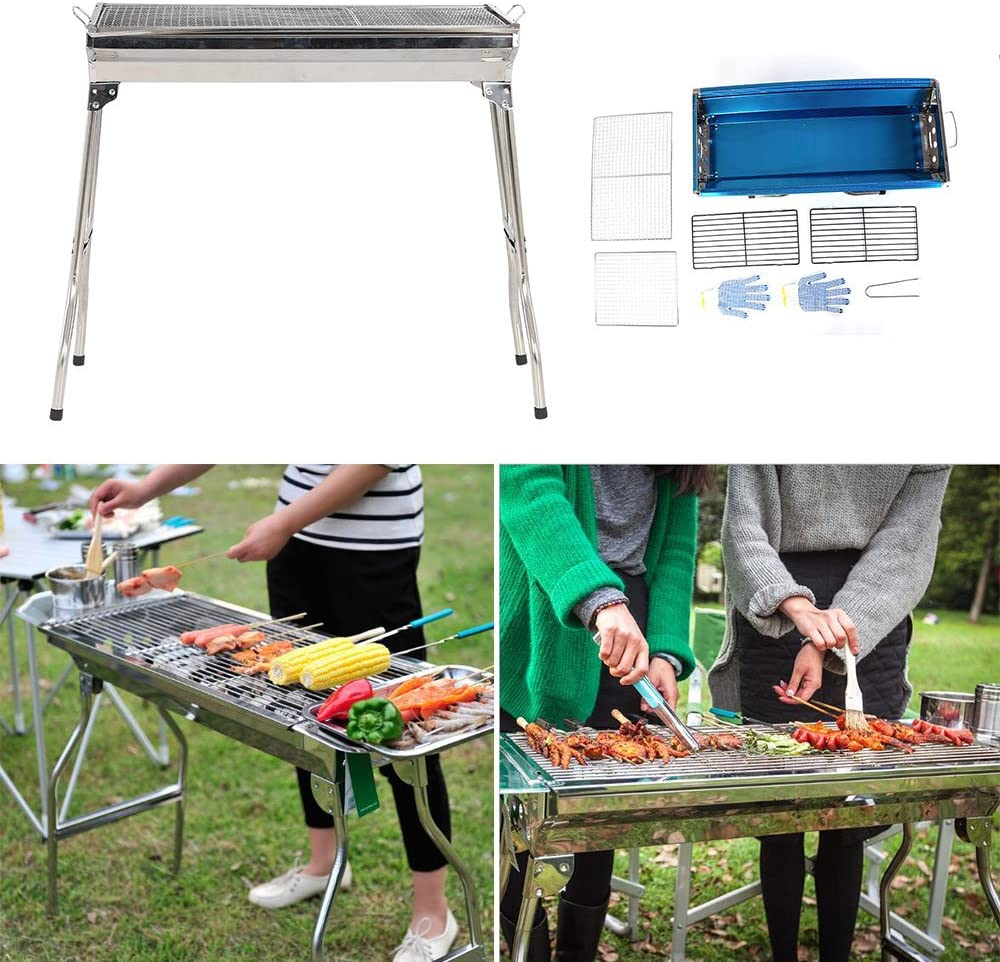 BBQ Edelstahl Grill Holzkohlegrill Camping Standgrill Tragbar Klappgrill Outdoor