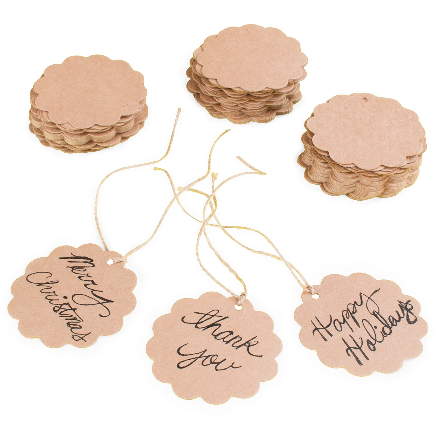 Brown Craft Scalloped Paper Label Tags with Jute Twines String for Birthday Party, Wedding Decoration Gifts, Organizing, Arts & Crafts (100 Pack) Super Z Outlet SZ082