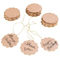 Brown Craft Scalloped Paper Label Tags with Jute Twines String for Birthday Party...