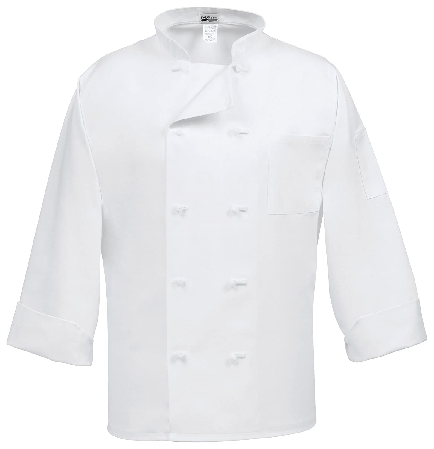 Fame Adult's Chef Coat - French buttons-White-Medium Fame Fabrics 72060981983