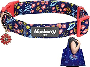 Blueberry Pet Pack of 2 Spring Scent Inspired Products in Navy Blue - Size Medium Dog Collar and Joyful Floral Print Lightweight Eco-Friendly Reusable Shopping Bag