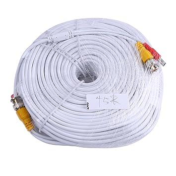 ANNKE 45m/150 pies Cable Siamés BNC Video Fuente de Alimentación para Kit CCTV Cámara