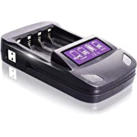 Carregador de bateria rápido e testador de analisador LCD Carregador de bateria inteligente para baterias recarregáveis…