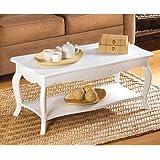 Cottage Style Soft White Finish Elegant Wood Coffee Table