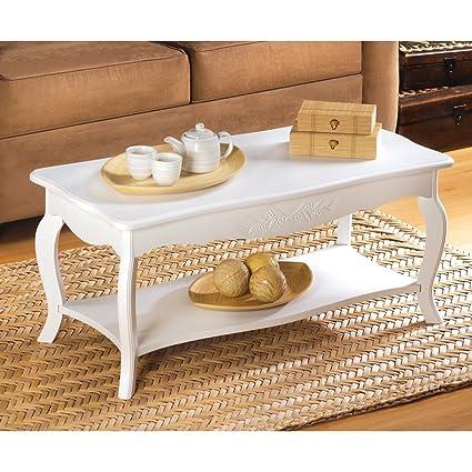 Bon Cottage Style Soft White Finish Elegant Wood Coffee Table