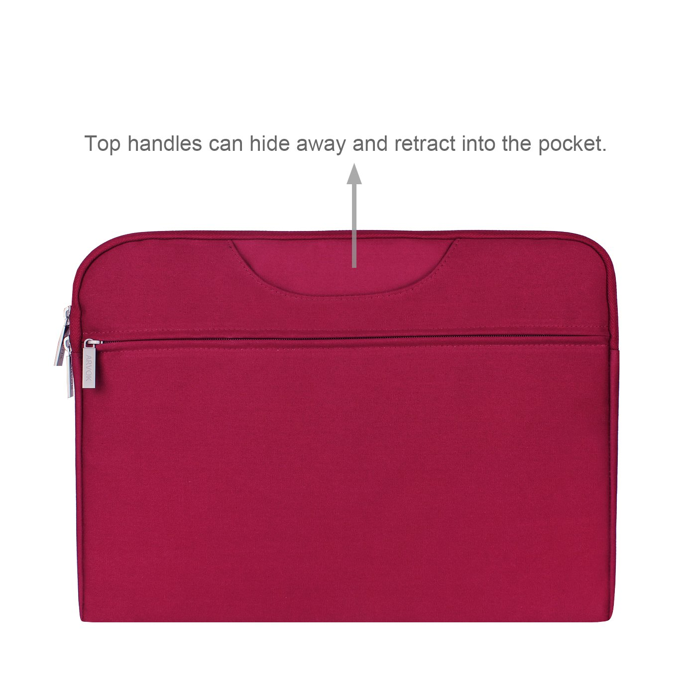 Arvok 15 15.6 16 Inch Water-resistant Canvas Fabric Laptop Sleeve With Handle&Zipper Pocket/Notebook Computer Case/Ultrabook Briefcase Carrying Bag/Pouch Cover For Acer/Asus/Dell/Lenovo/HP,Wine Red by ARVOK (Image #3)