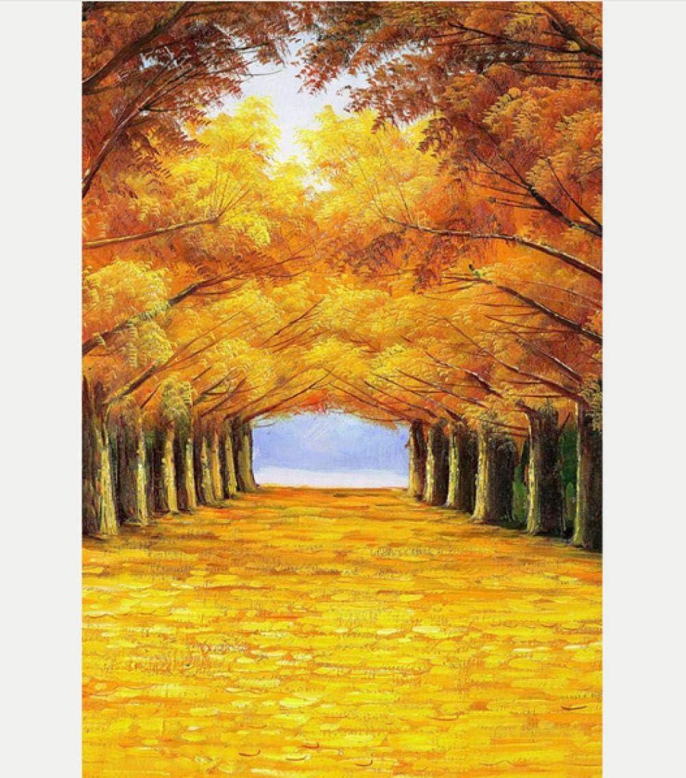 Diy digital pintura al óleo dorado arbolado avenida arce bosque planta paisaje pintura moderna casa arte de la pared 40 * 50 cm