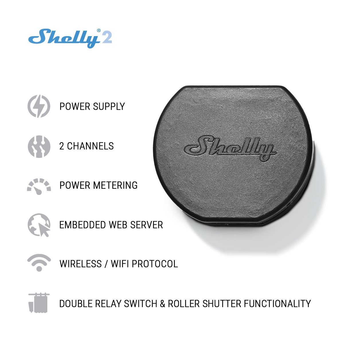 Shelly 2 Wireless Dual Relay Switch Smart Home Automation Pack Of 1 Camera Photo