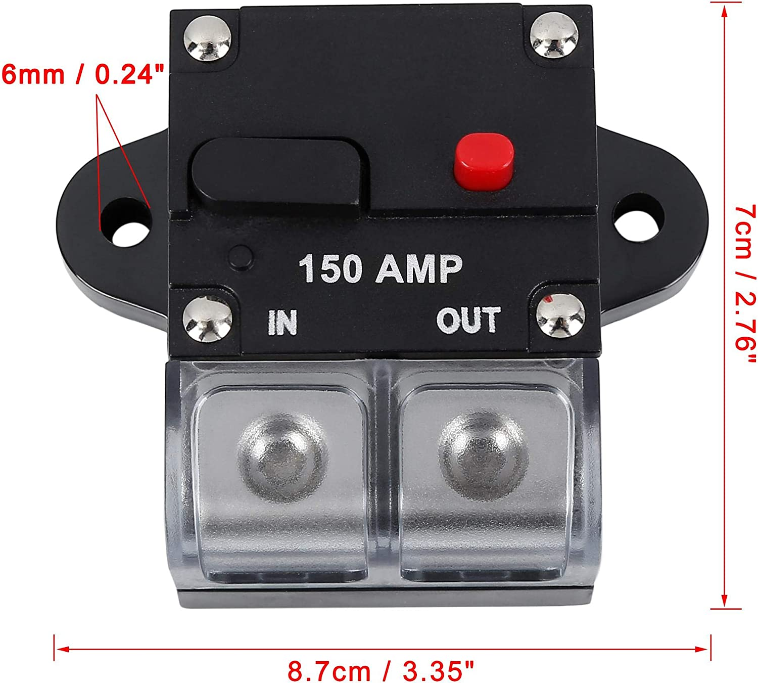 X AUTOHAUX Fuse Holders Inverter Circuit Breaker Inline Protector 150A Black Red Button for Car Vehicle