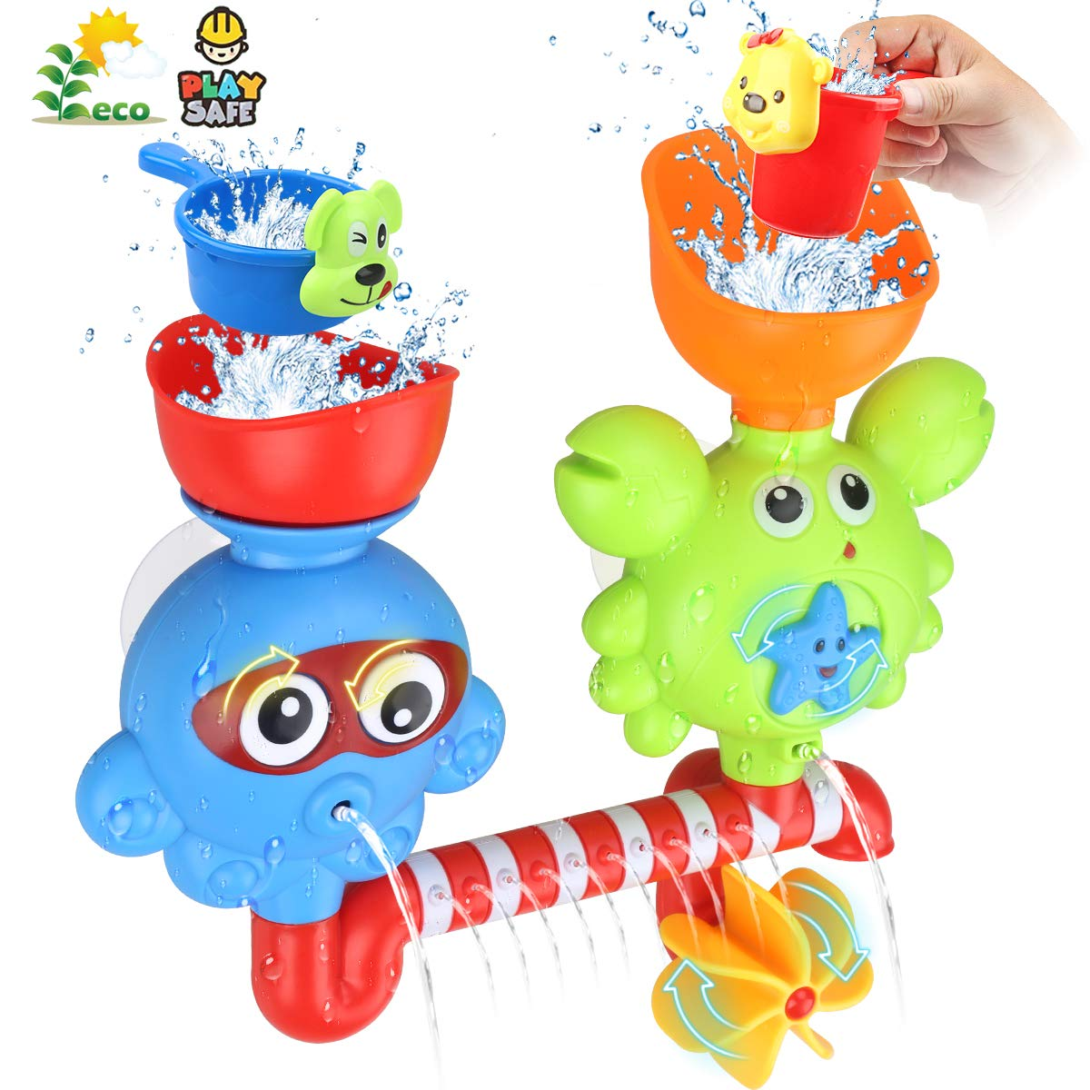 Bath Toys for Toddlers Babies Kids 1 2 3 Year Old Boys Girls Bathtub Toys Bath Wall Toy Fill Flow and Spin Waterfall Station with Strong Suction Cups Bath Toys Non Toxic Bath Toy