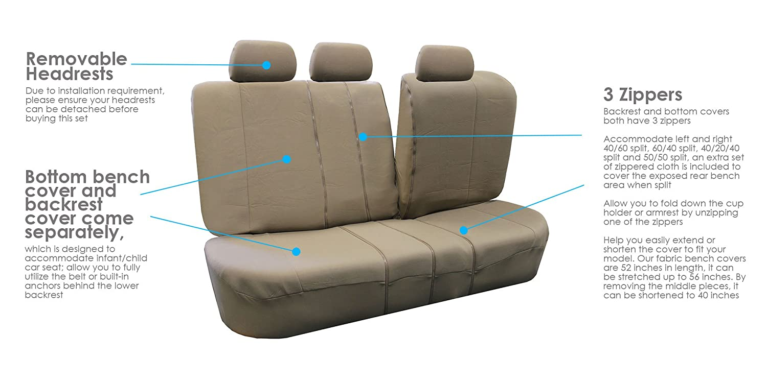 Allow Right and Left 40//60 Split, 50//50 Split Fit Most of Vehicle FH Group FB051GRAY013 Gray Universal Split Bench Seat Cover