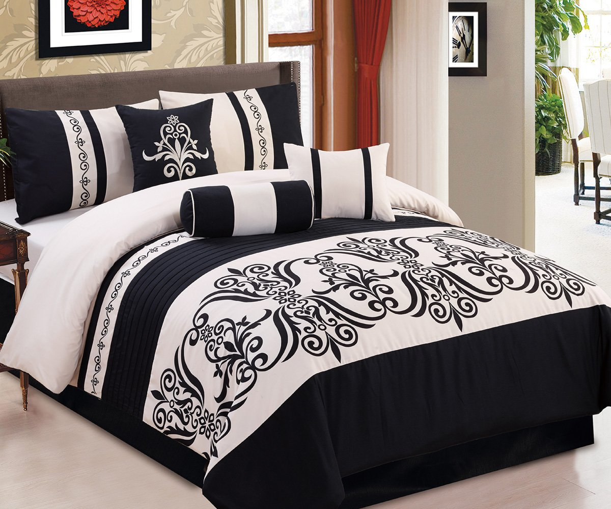 Modern 7 Piece Bedding Black / Off-White Medallion Embroidered