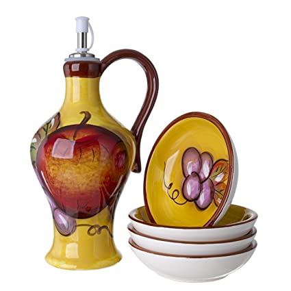 Cucina Italiana Ceramic Olive Oil Dispenser Bottle, with Set of 4 Bread Dipping Plates,
