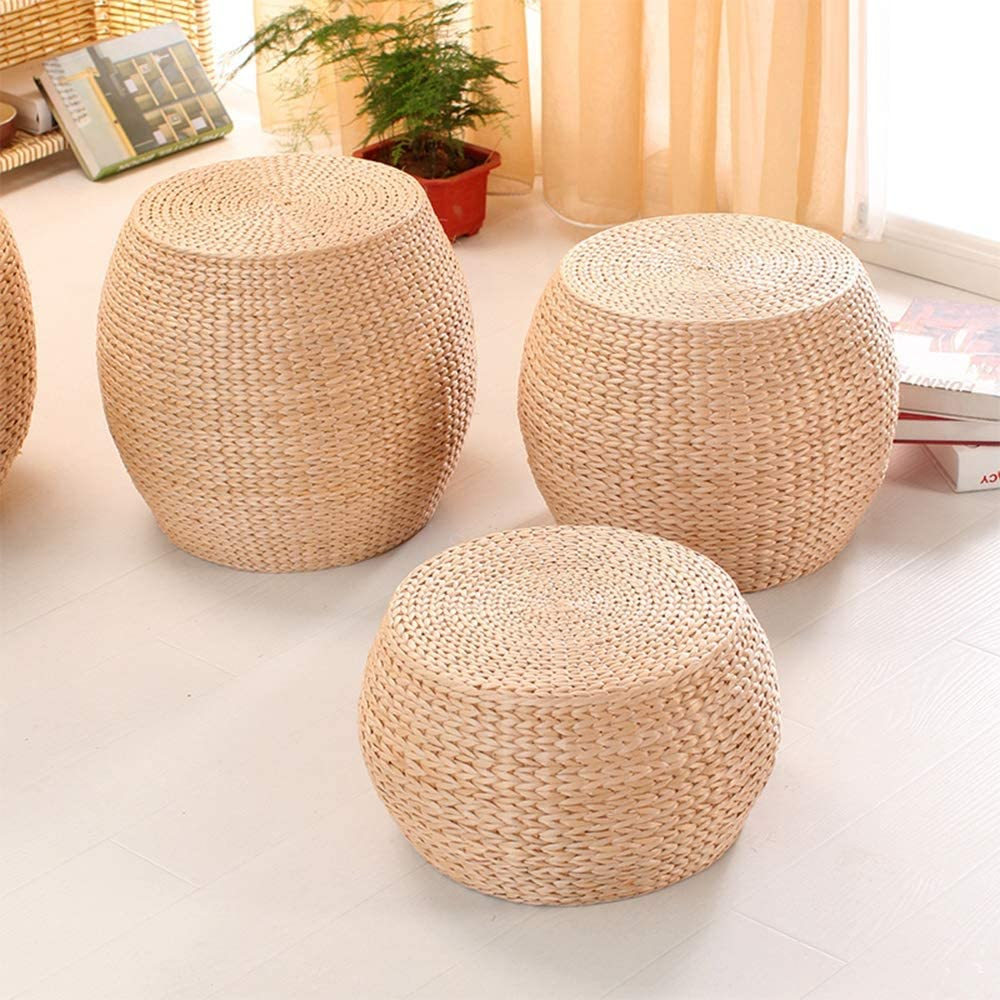 Round Straw Rattan Weave Pouf Primary Color Office and Family Sofa Bench Wine Ottoman Footstool Size : 32 * 32 * 35CM