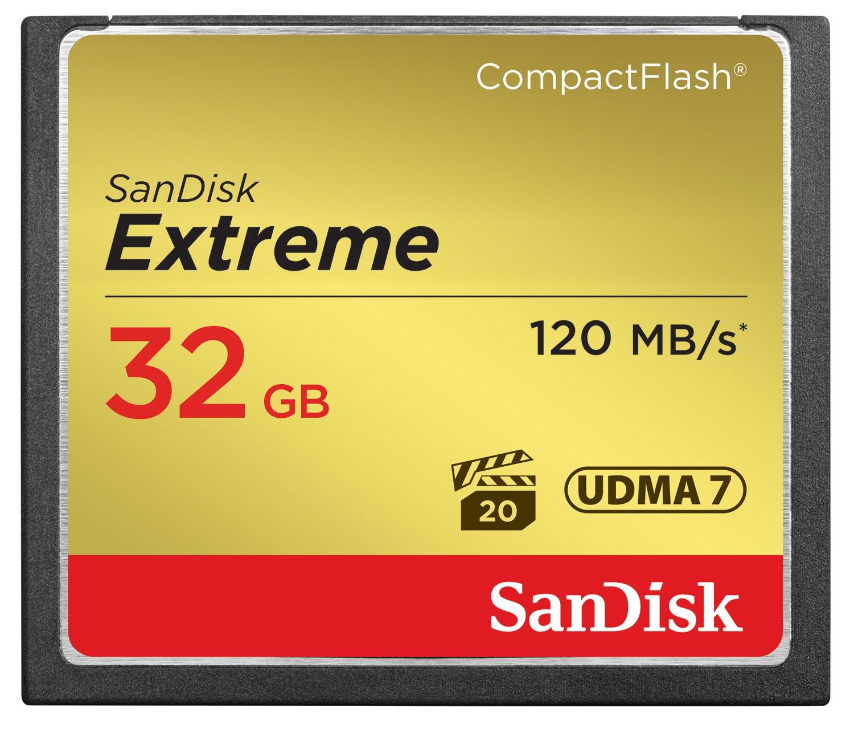 Carte mémoire CompactFlash UDMA7 SanDisk Extreme 32Go avec une vitesse de lecture allant jusqu'à 120Mo/s (SDCFXS-032G-X46) Carte mémoire